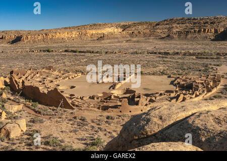 Pueblo Bonito, Anasazi Indian ruins, Chaco Canyon, view from North Mesa, Chaco Culture National Historical Park, - Stock Photo