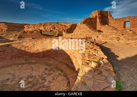 Kiva at Pueblo del Arroyo, Anasazi Indian ruins, sunset, Chaco Culture National Historical Park, New Mexico, USA - Stock Photo