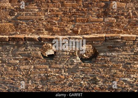 Wall with masonry details, Chetro Ketl ruins, Chaco Culture National Historical Park, New Mexico, USA - Stock Photo