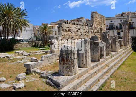 Temple of Apollo in Ortygia, Syracuse, Sicily, Italy - Stock Photo