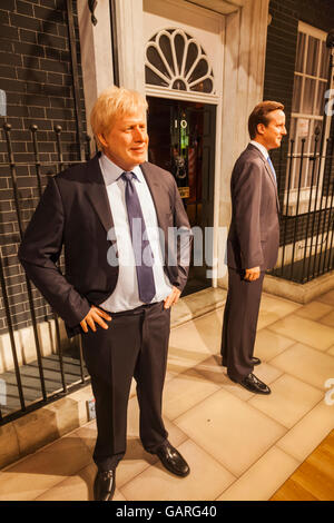 England, London, Madame Tussauds, Wax Figures  of Boris Johnson and David Cameron in Front of 10 Downing Street - Stock Photo