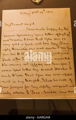 England, London, Greenwich, National Maritime Museum, Nelson's Last Letter to his Daughter Horatia dated 19 October - Stock Photo