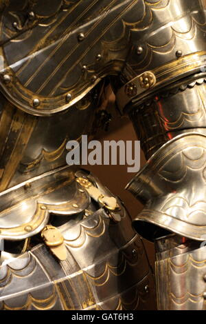Suit of Medieval armour at the Tower of London - Stock Photo