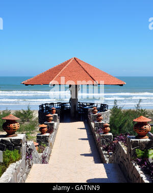 View from beach-side resort overlooking South China Sea, between Hue and Hoi An, Vietnam. - Stock Photo