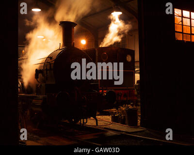 Steam locomotives in the engine shed at night on the lincs wolds railway Ludborough easter 2014 - Stock Photo