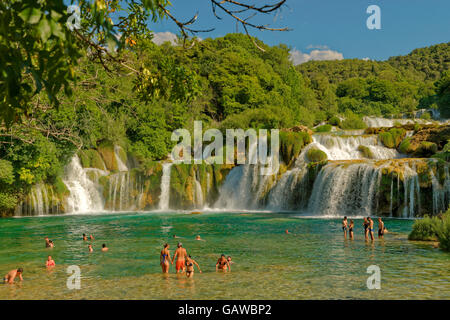 Lower Falls at Krka National Park, near Sibenik, Croatia - Stock Photo