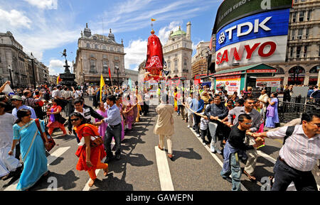 40th Rathayatra Festival - Piccadilly Circus, London - Stock Photo