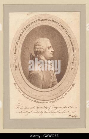 The Right Honble. Norborne Berkeley, Baron de Bottetourt, late Governor of Virginia ( b12349153-423971) - Stock Photo