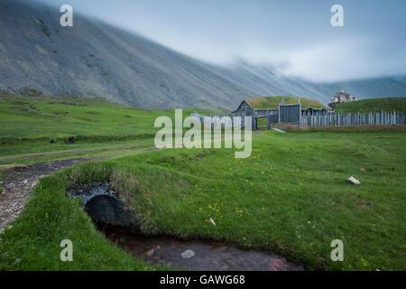 Summer night at Stokksnes headland, Iceland. - Stock Photo