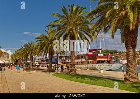Waterfront promenade of Trogir, near Split in Croatia. - Stock Photo