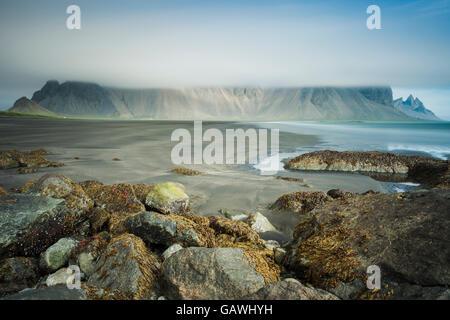 Summer morning at Stokksnes headland, Iceland. - Stock Photo