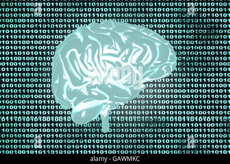 Artificial intelligence and coded brain. 3D rendered Illustration. - Stock Photo