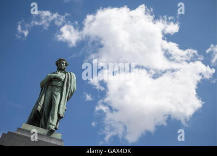 MOSCOW, RUSSIA - JULY 6, 2016: A monument to Russian poet, playwright, and novelist Alexander Pushkin in Pushkinskaya - Stock Photo