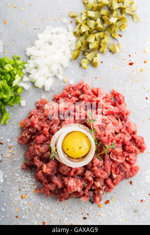 Close up of a raw beef tartar shot from above - Stock Photo