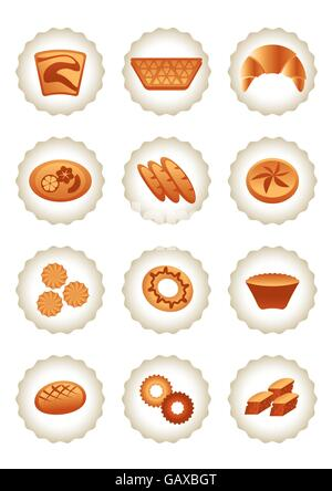 Bakery icons set - vector illustration - Stock Photo