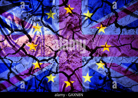 Flags of Great Britain and EU on cracked ground - Stock Photo