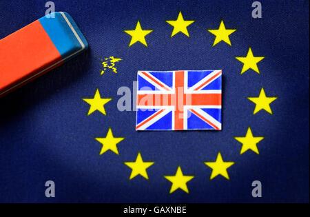 Erased EU star, Brexit - Stock Photo