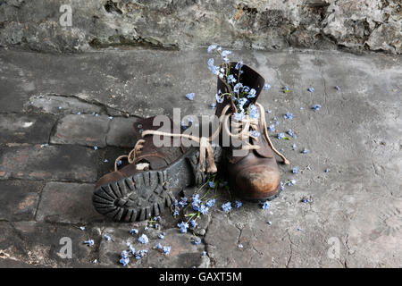 A pair of old leather work boots on workshop floor with forget-me-not flowers. - Stock Photo