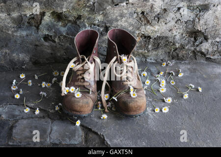 A pair of old leather work boots on workshop floor with daisy flowers. - Stock Photo