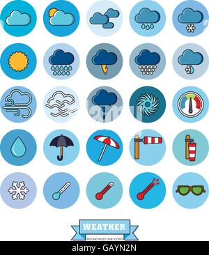 Collection of weather and climate related filled line vector icons in blue circles - Stock Photo