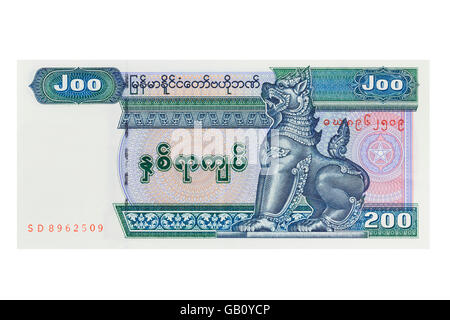 Myanmar two hundred Kyat note on a white background - Stock Photo