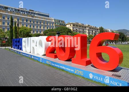 NICE, FRANCE - JUNE 23, 2016: UEFA EURO 2016 logo at Promenade du Paillon in City of Nice, France - Stock Photo