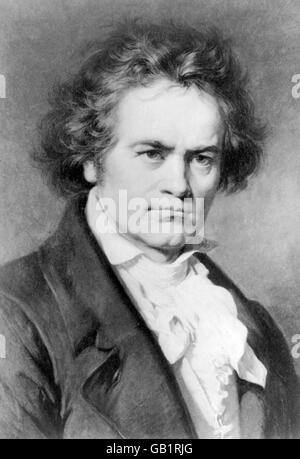 The German composer, Ludwig van Beethoven (1770-1827). From a painting by Carl Jaeger. - Stock Photo