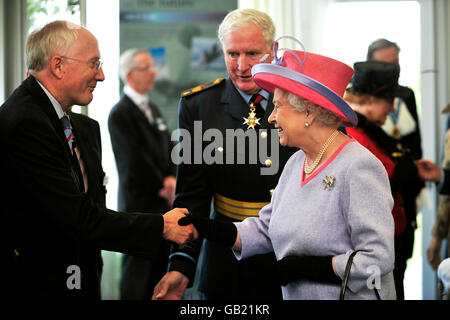 Britain's Queen Elizabeth II meets guests at RAF Fairford, during the presentation of new colours to the RAF. Stock Photo