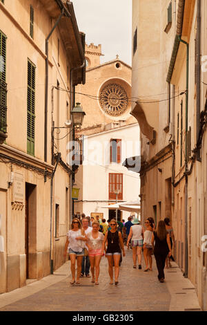 people in Pollensa ( Pollenca ) old town centre, north Mallorca ( Majorca ), Balearic Islands, Spain Europe - Stock Photo