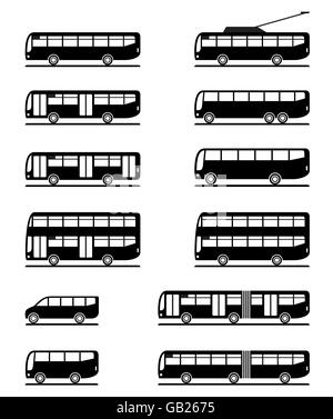 Buses and coaches - vector illustration - Stock Photo