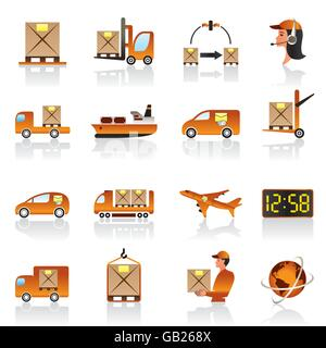 Cargo and logistic icons set - vector illustration - Stock Photo
