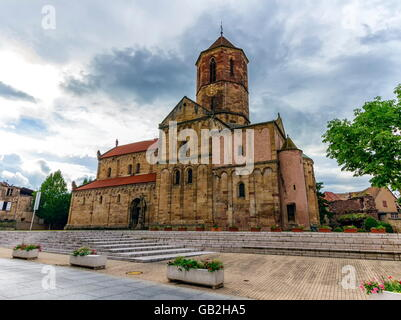 Saints-Pierre-et-Paul church by day, Rosheim, Alsace, France - Stock Photo