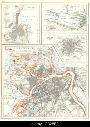 RUSSIA Odessa St Petersburg Moscow 1905 antique map Stock Photo