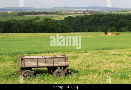 view on trailer in a green landscape by daylight - Stock Photo