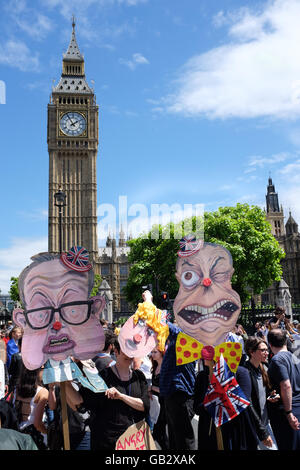 Caricatures of (left to right) Michael Gove, Boris Johnson, and Nigel Farage at an anti-Brexit protest in London - Stock Photo