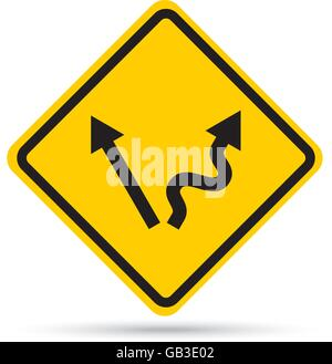 Abstract traffic sign warning that crossroad ahead - easy or tough - Stock Photo