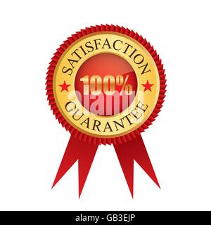 One hundred percent satisfaction guarantee gold badge icon logo vector graphic design - Stock Photo