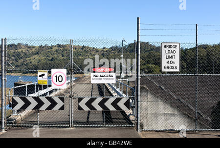 View of a shut gate and multiple warning signs - Stock Photo