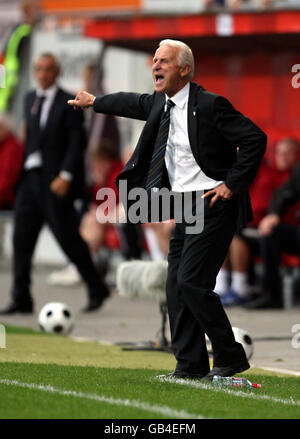 Republic of Ireland manager Giovanni Trapattoni gives instructions from the touchline during the World Cup Qualifying Group Eight match at the Stadion am Bruchweg, Mainz, Germany. Stock Photo
