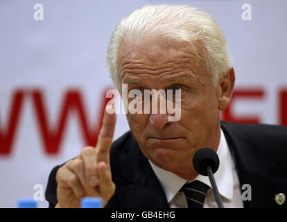 Republic of Ireland Manager Giovanni Trapattoni speaks during the post match press conference following the World Cup Qualifying Group Eight match at the Stadion am Bruchweg, Mainz, Germany. Stock Photo