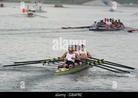 A womans' fours rowing team training on the Yarra River in ...