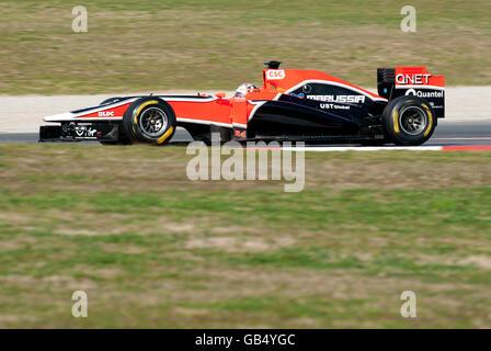 German driver Timo Glock in his Virgin Racing-Cosworth VR-02 car, motor sports, Formula 1 testing at the Circuit - Stock Photo