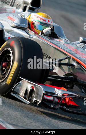 British driver Lewis Hamilton driving his McLaren-Mercedes MP4-26 car, motor sports, Formula 1 testing at the Circuit - Stock Photo