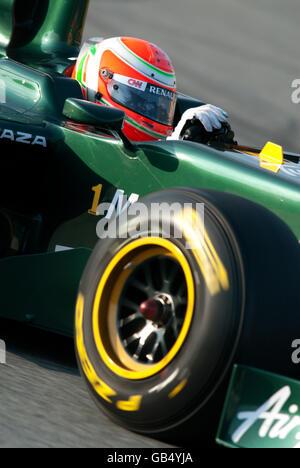 Italian driver Jarno Trulli driving his Team Lotus-Cosworth T128 car, motor sports, Formula 1 testing at the Circuit - Stock Photo
