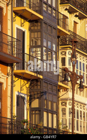 Building facades in the Plaza del Castillo in Pamplona, Navarra, Basque Country, Spain, Europe - Stock Photo