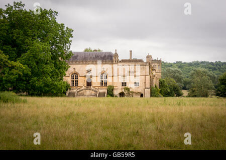 External view of Lacock Abbey, former home of the photography pioneer; William Henry Fox Talbot,  in the village - Stock Photo