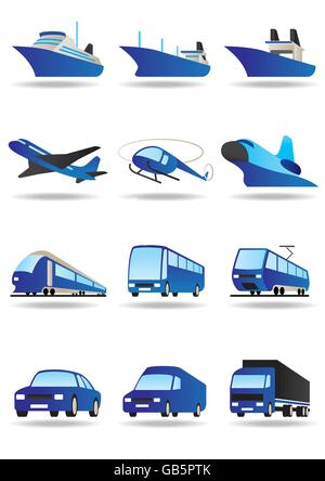 Road, sea and space transport icons set - vector illustration - Stock Photo