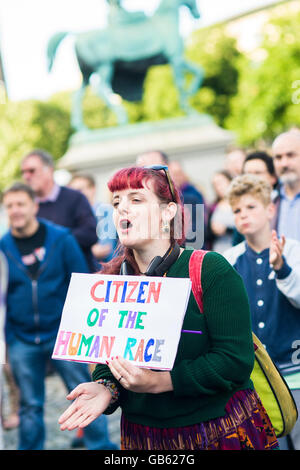 a woman holds a pro EU placard at rally in Liverpool UK - Stock Photo