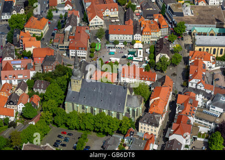Aerial view, Gothic church provost church St. Walburga, old market, marketplace, market day Werl Werl-Unnaer Borde, - Stock Photo