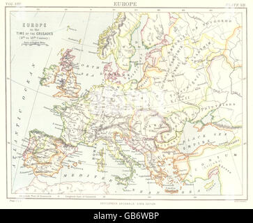 EUROPE: in the time the Crusades (11th-13th Centuries). Britannica., 1898 map - Stock Photo